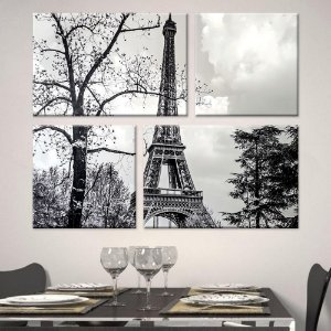 Conjunto de Telas Decorativa Torre Eiffel PB 123x101cm