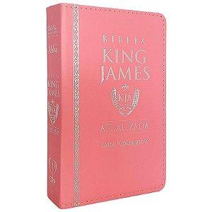 Bíblia King James Luxo Versão atualizada Letra Hipergigante Rosa