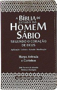 Bíblia de Estudo do Homem Sábio Harpa Avivada e Corinhos Marrom