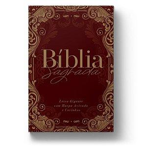 Bíblia ARC Ornamentos Vinho - Letra Gigante - Com Harpa Avivada e Corinhos