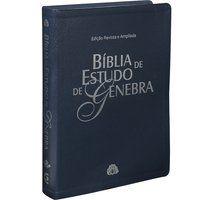 Bíblia de Estudo de Genebra Couro Azul Almeida Revista (ARA)