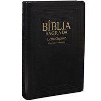 Bíblia Sagrada Letra Gigante Capa Couro Preta (ARA)