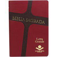 Bíblia Sagrada Letra Grande Capa couro vermelha e marrom NAA
