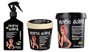 Kit Morte Súbita Lola Cosmetics: Máscara 450g + Shampoo Sólido 250g + Reparação Total 250ml (3 Produtos)