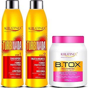 Keratinex Kit Escova Progressiva Turbinada 2x1 Litro + Btox Mega Hidratante 1kg