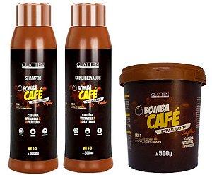 Glatten Bomba de Café Kit Completo (Shampoo + Condicionador + Máscara 500g) Estimulante Capilar - 3 Produtos