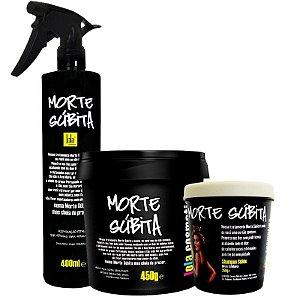 Kit Morte Súbita Lola: Reparação Total Spray 400ml + Máscara Super Hidratante 450g + Shampoo Sólido 250g