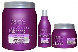 Kit Loira Poderosa Platinum Blond Forever Liss - 3 Produtos (Botox 1kg + Shampoo 300ml + Máscara 250g)
