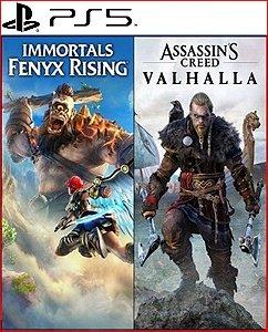 assassin's creed valhalla + immortals fenyx rising pacote ps5 psn mídia digital