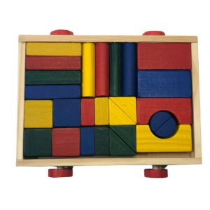 Carrinho com Blocos Coloridos em madeira