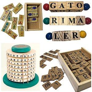 Kit Alfabetizar II + dominó - 6 JOGOS: Alfabeto silábico, Alfabeto, 3 jogos Letrinhas, Dominó Animais