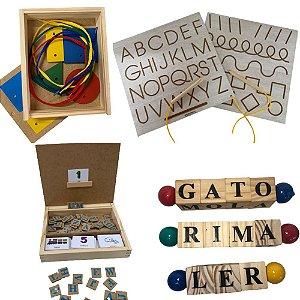 Kit Letras- 6 Jogos- Tabuleiro, Forme Palavras, 3 Jogos Letrinhas e Dominó Silábico