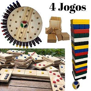 Kit Pais e Filhos- Jenga, Dominó Gigante, Memória e Cubo III