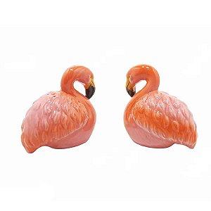 Kit Saleiro Pimenteiro Casal de Flamingos em cerâmica