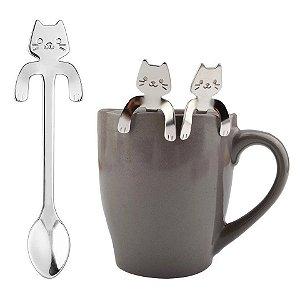 Kit 3 colheres Gato Gatinho Infantil Café Chá Suco Inox