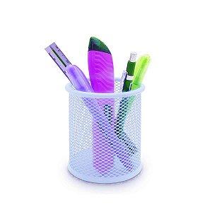 Porta Objeto Lápis Caneta Maquiagem Metal Organizador Azul