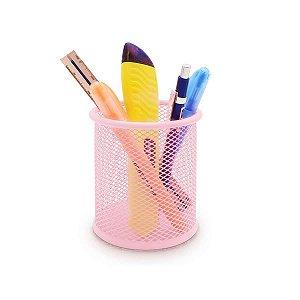 Porta Objeto Lápis Maquiagem Metal Organizador Rosa