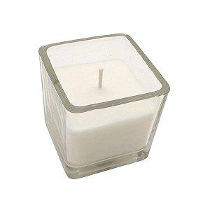 Vela Castiçal vidro 5cm - Quadrada Branca