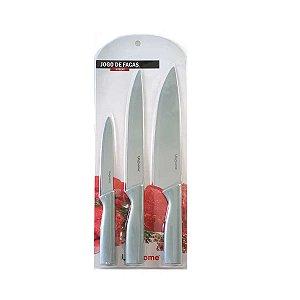 Jogo 3un facas de cozinha conjunto em aço inox super corte