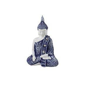 Enfeite Buda Blue Meditando Mesa Sala Escritório