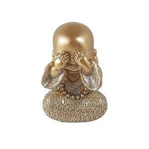 Enfeite Buda Dourado Tapando Olhos Mesa Sala Escritório