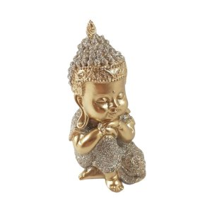 Enfeite Buda Joelho Dobrado Dourado Mesa Sala Escritório