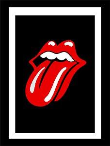 Quadro Decorativo Rolling Stones com Moldura e Vidro