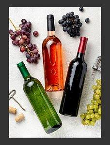 Quadro Decorativo vinhos uvas Com Moldura E Vidro