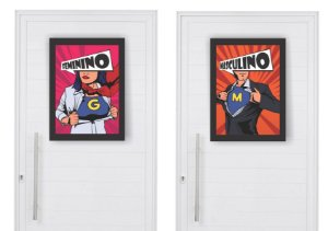Kit Quadro Banheiro Masc Fem Herois com Moldura e Vidro