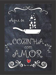 Quadro Cozinha co amor com Moldura E Vidro