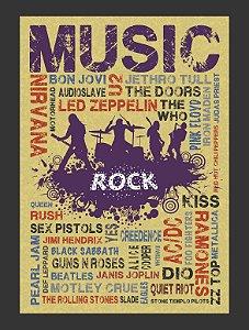Quadro Rock Bandas  com Moldura E Vidro