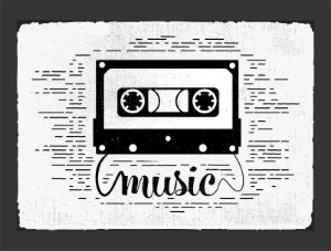 Quadro Fita Cassete Vintage Música com Moldura E Vidro