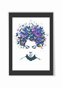 Quadro Mulher cabelo com borboletas Moldura E Vidro Presente