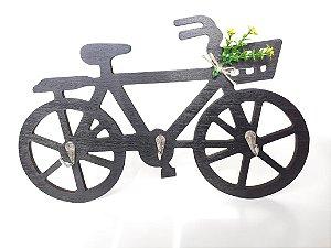 Porta Chaves Em Mdf Bicicleta Com Ganchos Enfeite Preto