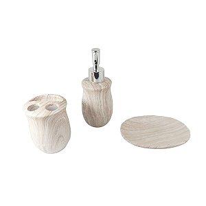 Jogo de Banheiro 3pçs porta escova saboneteira lavabo wood