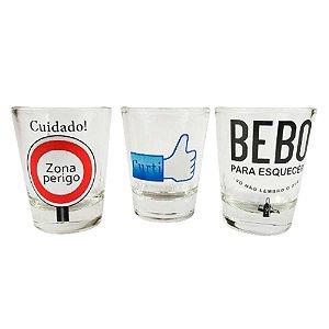 Conjunto Copo Dose Kit 3 Un Presente Pinga vodka tequila