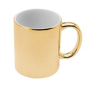 Caneca Dourada De Cerâmica Luminus Luxo Café Chá Leite