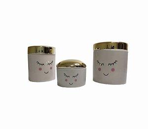Kit Porta Joias De Cerâmica Com Tampa Dourada 3 Unidades