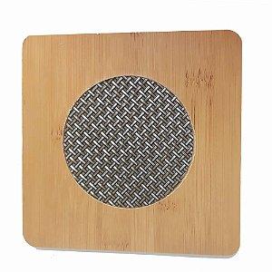 Kit 4 Descanso Panela Quadrado Em Bambu Com Malha Metalizada