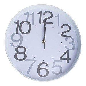 Relógio De Parede Redondo 30cm Branco Números Grandes