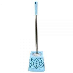 Escova Sanitária Com Base Quadrada E Cabo Inox  - Azul