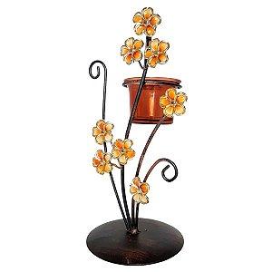 Castiçal De Metal Flores Douradas Suporte Velas Mini Vaso