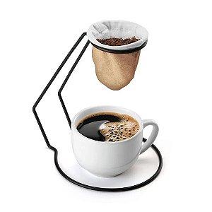 MINI COADOR DE CAFE MESA TECIDO C/SUPORTE BLACK RÚSTICO