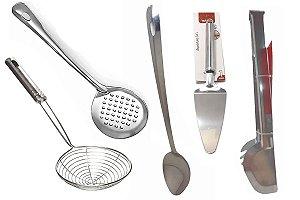 Jogo Utensílios de Cozinha Aço Inox 5 Peças