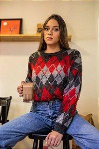Suéter em Tricot Xadrez Argyle (G)
