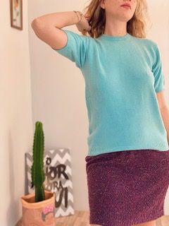 Camiseta azul veludo