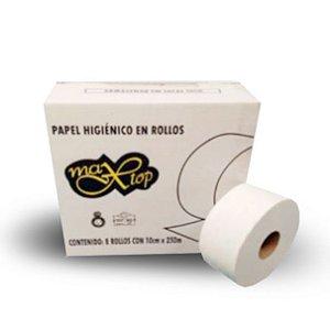 Max Top - Papel higiênico institucional folha dupla - Caixa com 8 rolos de 250m cada