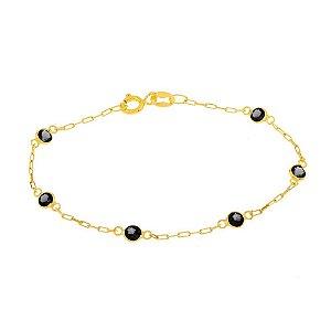 pulseira de ouro 18k adulto com pedras ônix