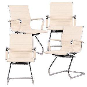 Kit 4 - Cadeira Escritório Pés Fixos Interlocutor Secretária