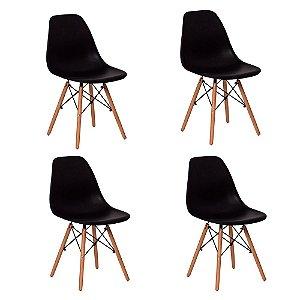 Kit 4 Cadeiras Charles Eames Wood